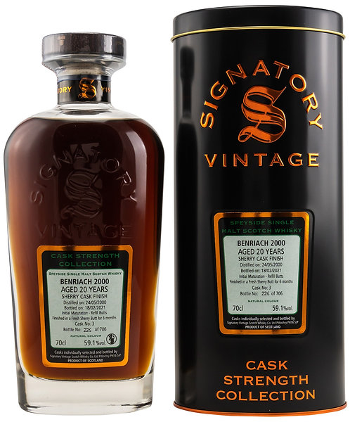 Benriach 2000 Signatory Vintage 20 years old Cask 3 Strength Collection