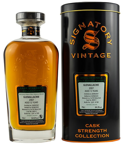 GlenAllachie 2007 Signatory Vintage Sherry Butt 12 Years old Cask 900511