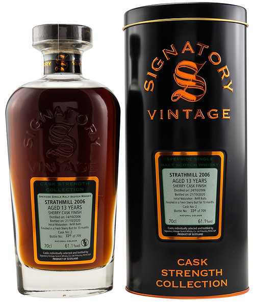 Strathmill 2006 Signatory Vintage Sherry Butt Finish 13 Years old Cask 2