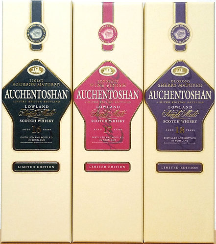 3 x Auchentoshan 16 + 17 + 18 Years old Distillery Bottling (old bottling)