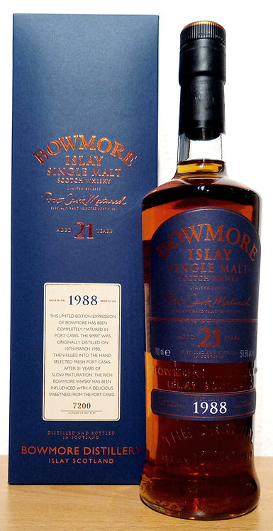 Bowmore 1988 Islay Single Malt 21 Years old Bottled 2009 Port Cask Matured