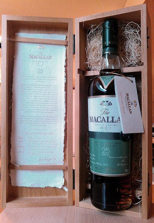 Macallan 25 Years Fine Oak Triple Cask Matured 3 Barrel Label with Ribbon