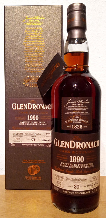 Glendronach 1990 Single Cask 7006 PX Sherry Puncheon 30 Years old