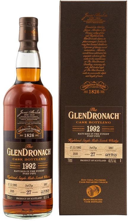 Glendronach 1992 Single Cask 5897 Port Pipe 27 Years old