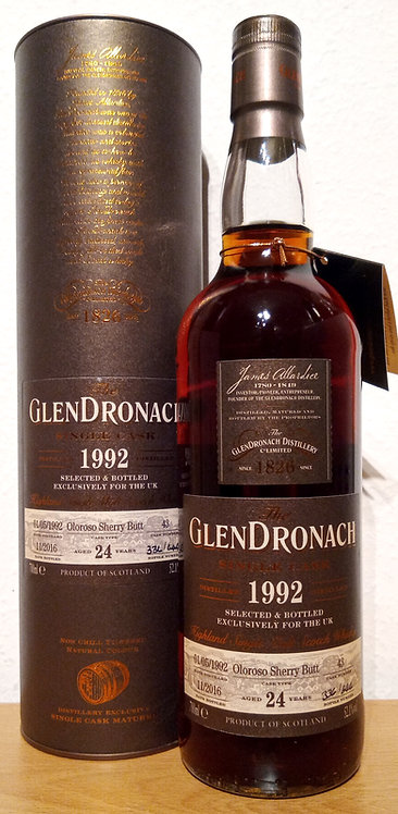 Glendronach 1992 Single Cask 43 Oloroso Sherry Butt 24 Years old