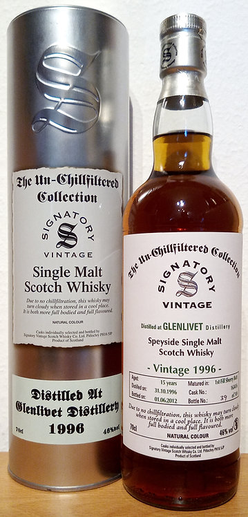 Glenlivet 1996 Signatory Vintage 1st fill Sherry Butt 15 Years old Cask 163416