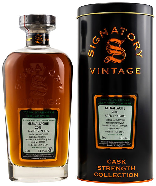 GlenAllachie 2008 Signatory Vintage 12 Years old Cask 900367 Strength Collection