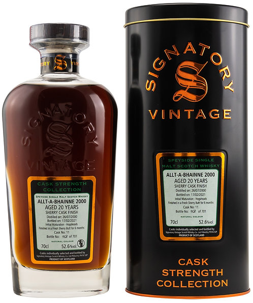 Allt-a-Bhainne 2000 Signatory Vintage 20 years old Cask 11 Strength Collection