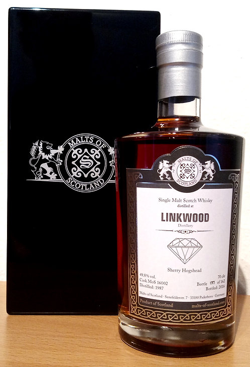 Linkwood 1987 Malts of Scotland 28 Years old Sherry Hogshead Cask 16002
