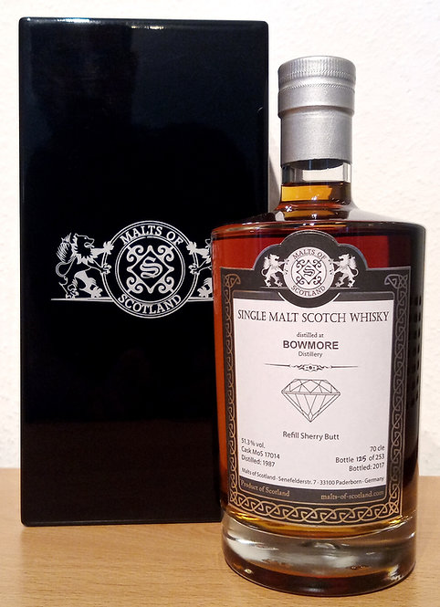 Bowmore 1987 Malts of Scotland 30 Years old Sherry Hogshead Cask 17014