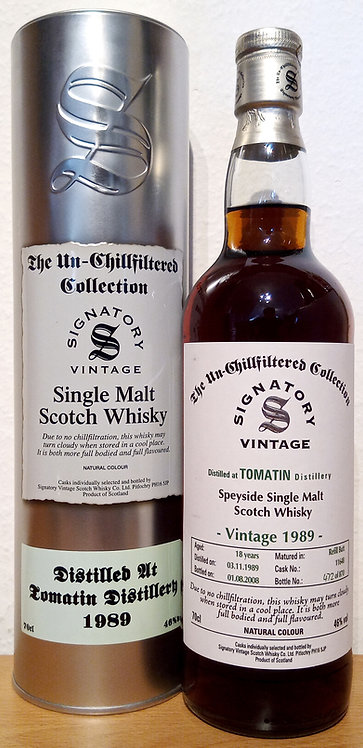 Tomatin 1989 Signatory Vintage Refill Butt 18 Years old Cask 11648