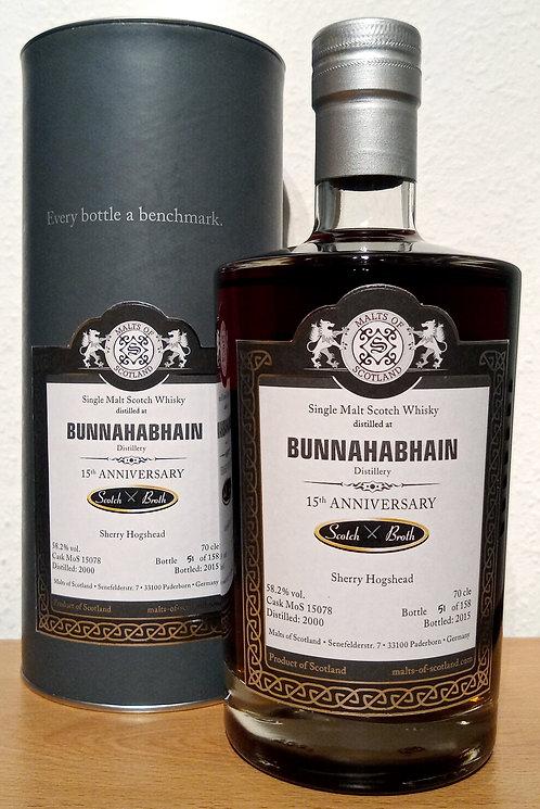 Bunnahabhain 2000 Malts of Scotland 15 Years old Sherry Hogshead Cask 15078