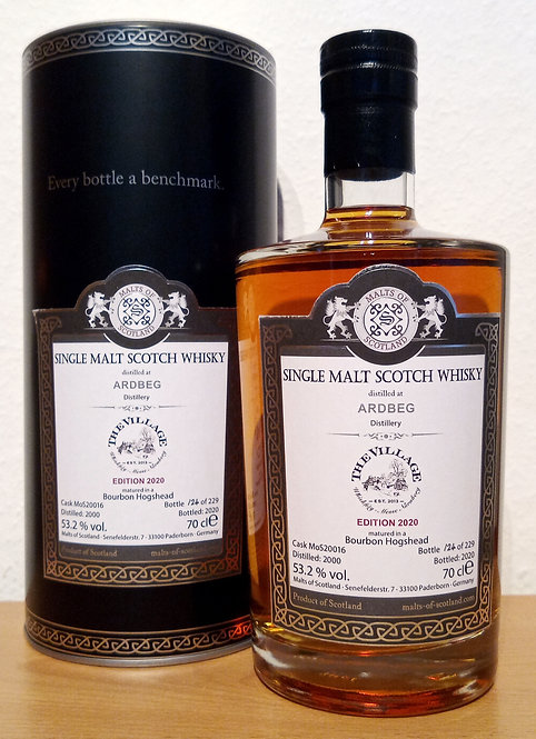 Ardbeg 2000 Malts of Scotland 20 Years old Bourbon Hogshead Cask 20016