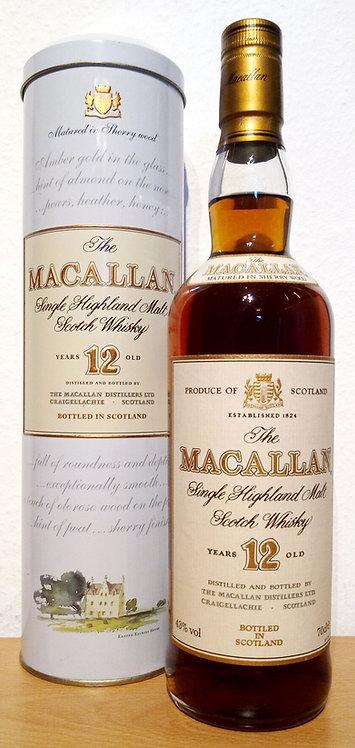 Macallan 12 Years old Sherry Oak Casks Old Label & Rare Tin Box