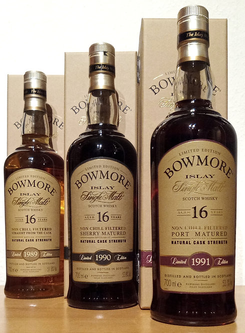 Bowmore 1989-1991 Port, Sherry,  Bourbon Cask Limited Edition 16 Years old