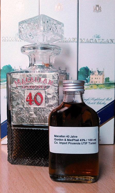 """Macallan 40 Jahre Gordon & MacPhail 100 ml aus Crystal Decanter 43% """"Rarität""""!"""