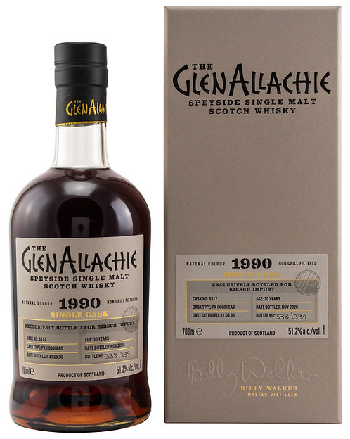 GlenAllachie 1990 PX Hogshead 30 Years Cask 6517 Exclusive for Kirsch Import