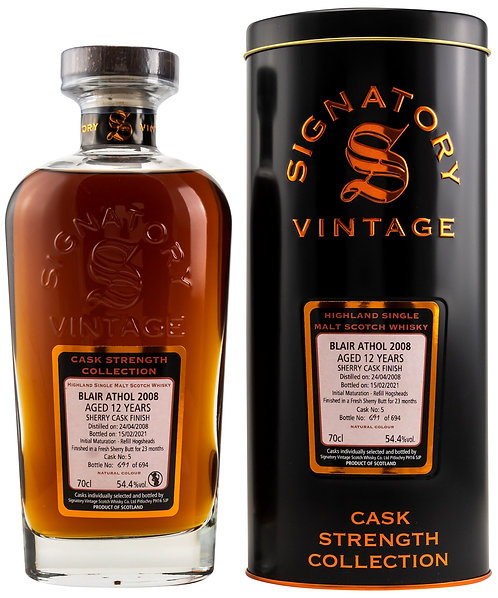 Blair Athol 2008 Signatory Vintage 12 years old Cask 5 Strength Collection