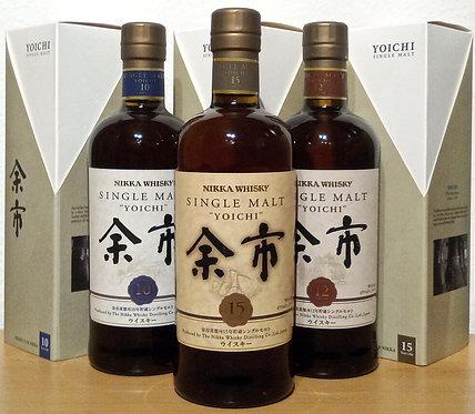 Yoichi Distillery Bottling 10 + 12+15 Years old Label Single Malt