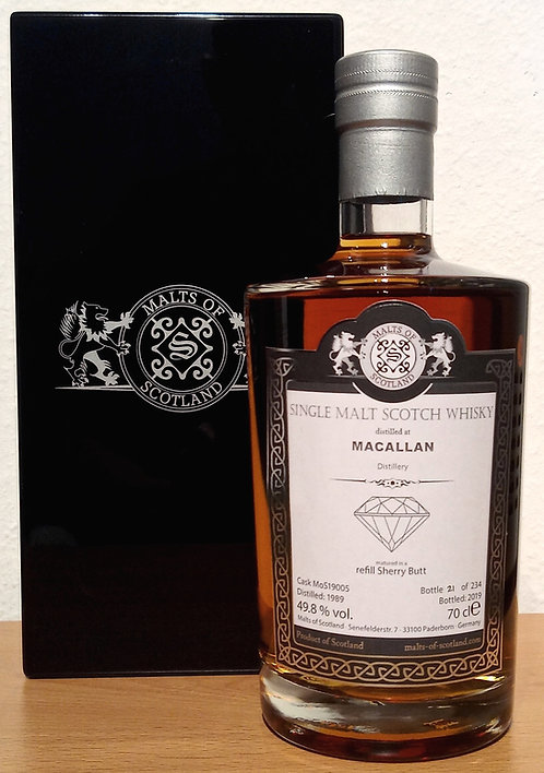 Macallan 1989 Malts of Scotland 30 Years old Refill Sherry Butt 19005