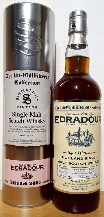 Edradour 2007 Signatory Vintage Sherry Butt 10 Years old Cask 316