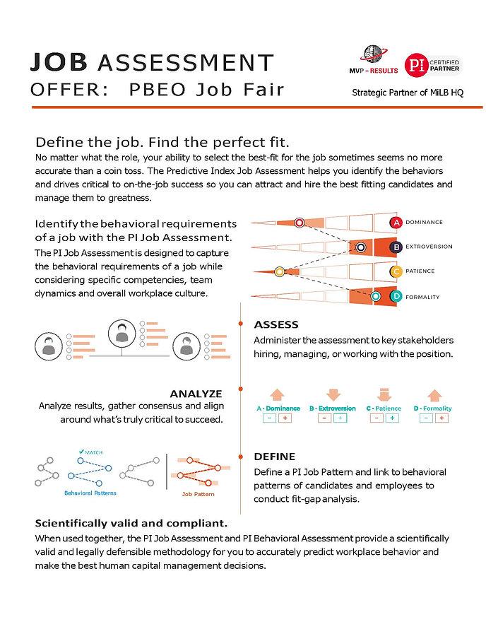 Job Assessment Offer PBEO Job Fair 2019.