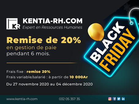 BLACK FRIDAY : REMISE DE 20% EN GESTION DE PAIE