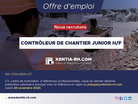 UN CONTRÔLEUR DE CHANTIER JUNIOR H/F