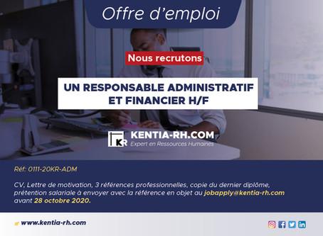 UN RESPONSABLE ADMINISTRATIF ET FINANCIER H/F