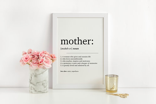 Mother Dictionary Definition A4 Print