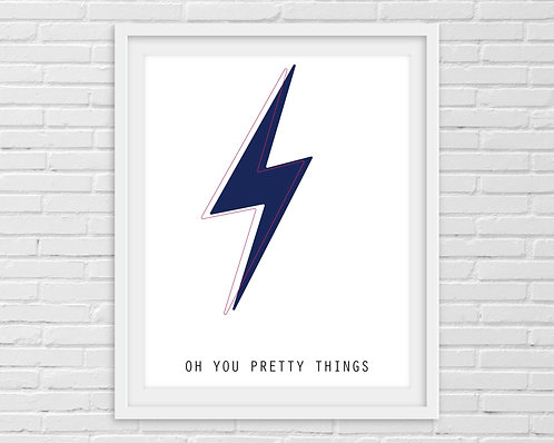 Oh You Pretty Things Blue - David Bowie A4 Print