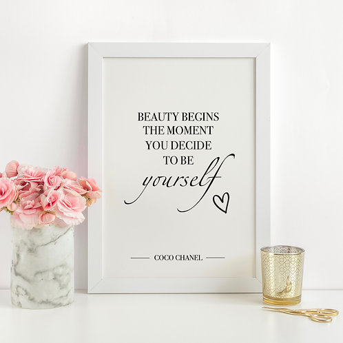 """""""Beauty Begins"""" Coco Chanel Quote - A4 Print"""