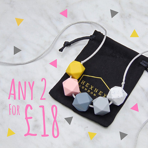 Any 2x LouLou 5 Bead Teething Necklace Designs