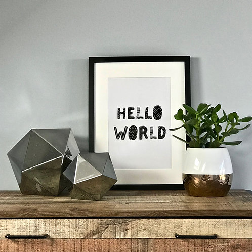 Hello World A4 Print