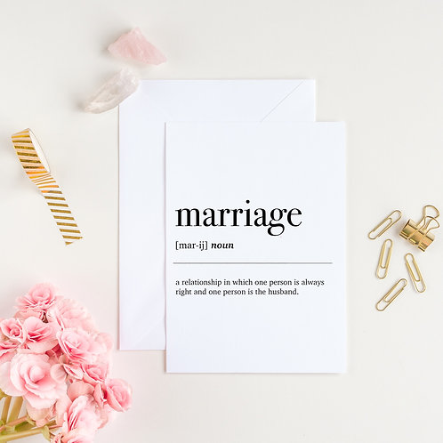 Marriage Dictionary Definition Greeting Card