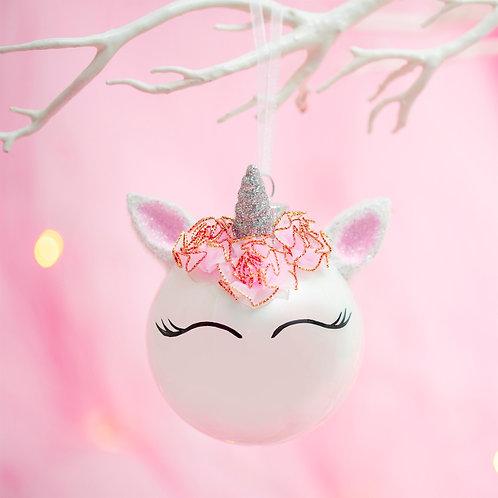Flower Crown Unicorn Bauble
