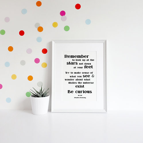 Stephen Hawking Quote A4 Print