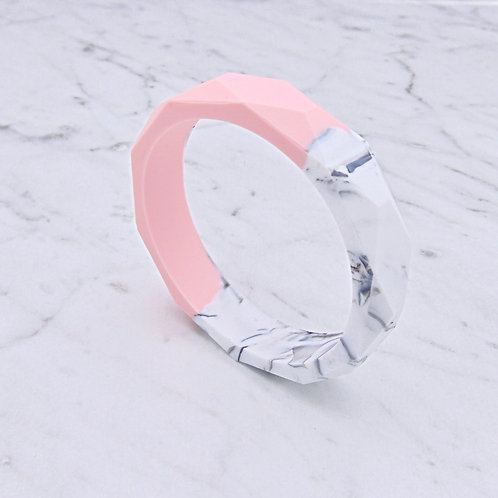 Peach and Marble Two Tone Teething Bangle