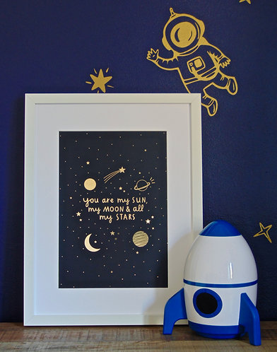 Sun, Moon and Stars Navy and Gold A4 Print