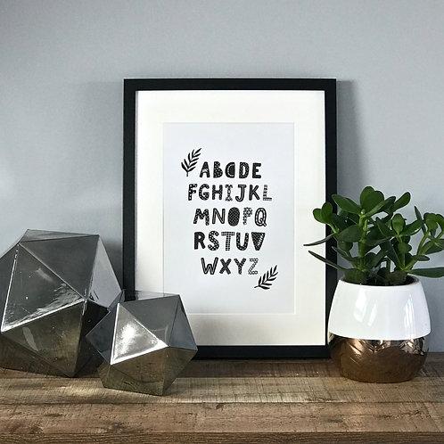 Monochrome Alphabet A4 Print