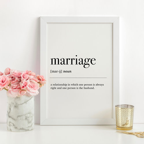 Marriage Dictionary Definition A4 Print