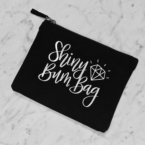Shiny Bum Bag Nappy Clutch Bag in Black and Silver