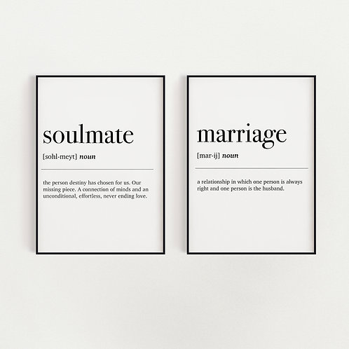 Set of 2 Dictionary Definition A4 Prints