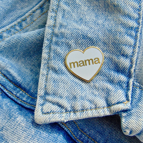 Mama Heart Enamel Pin Badge in White and Gold