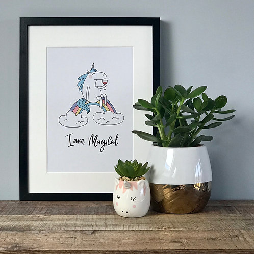 I Am Magical - Funny Unicorn A4 Print