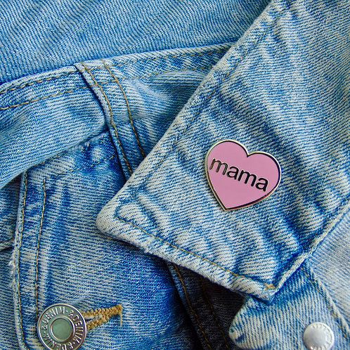 Mama Heart Enamel Pin Badge in Pink and Silver