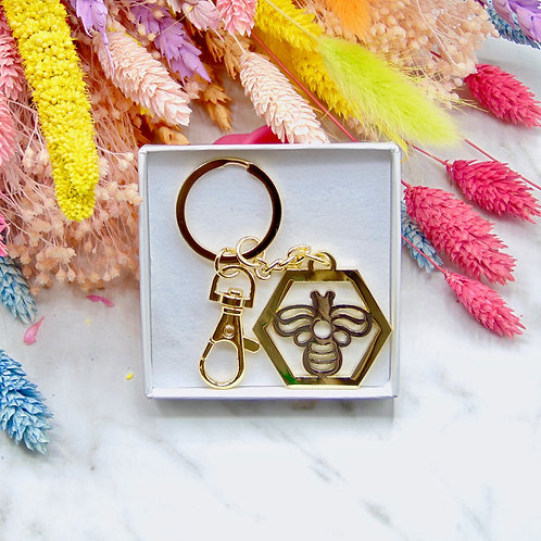 Gold Hexagon Bee Keychain