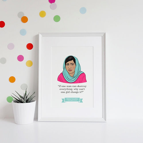 Malala Yousafzai - A4 Wall Art Print