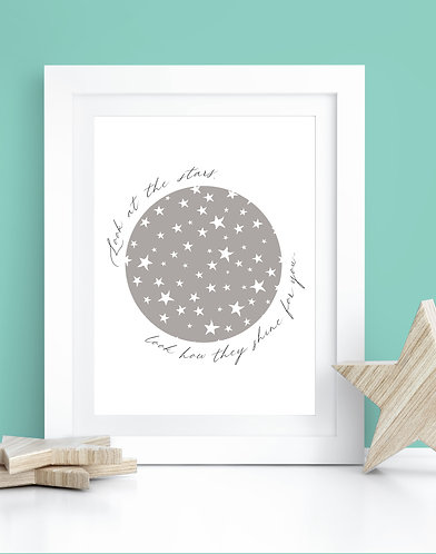 Look At The Stars - Coldplay Lyrics A4 Print
