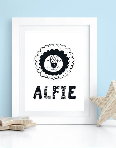 Personalised Lion Name A4 Print